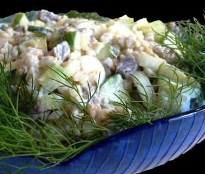 """салат с перловкой и мясом """"Лилия"""""""