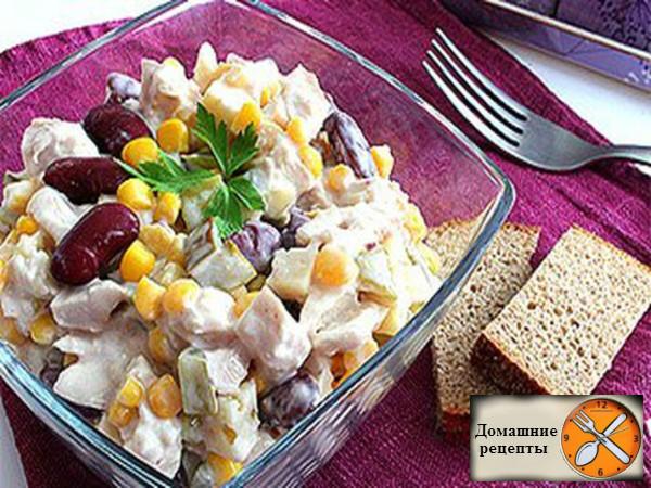 салат с курицей, фасолью и кукурузой