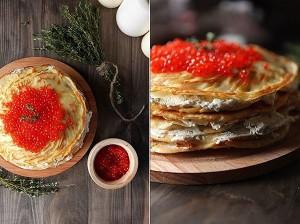 Блинный пирог с лососем