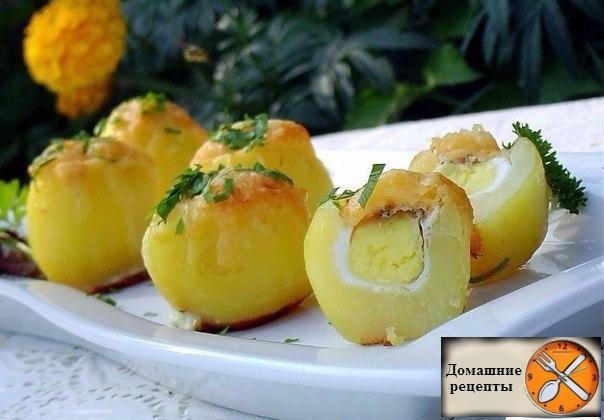 Картофель запеченный с яйцом