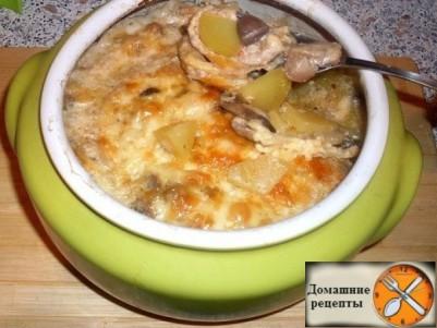 Жаркое из сердечек с грибами в горшочке или очень быстрый вкусный ужин