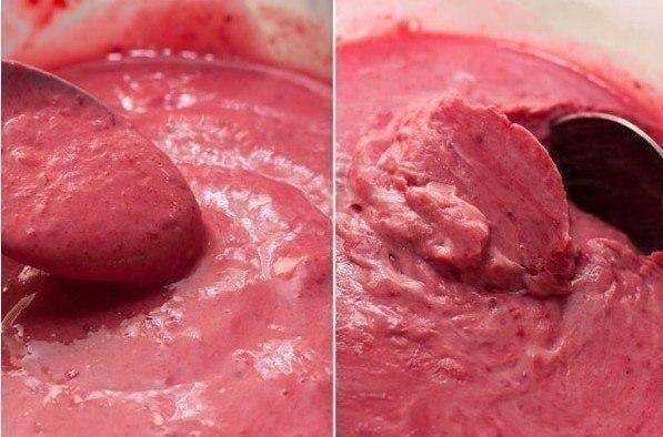 Сливочное малиновое мороженое