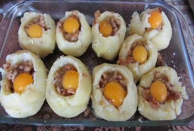Картошка фаршированная фаршем в духовке4