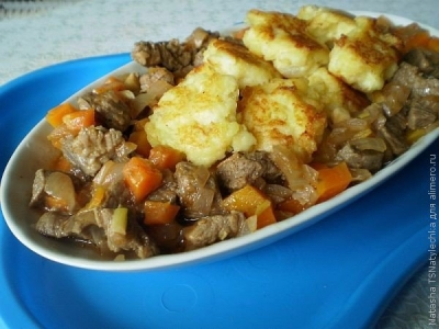 Говядина с картофельными галушками 6