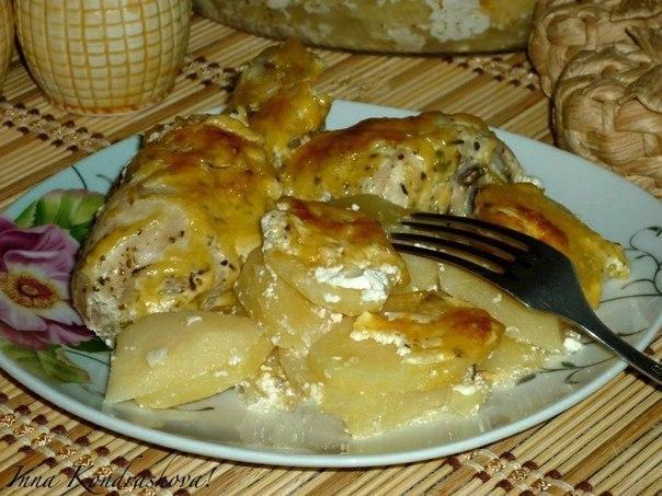 Картошка с куриными ножками в духовке 5