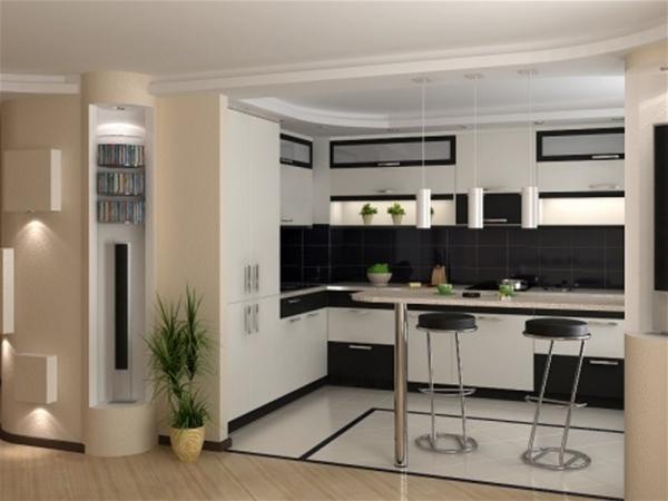 Барная стойка в интерьере кухни 14