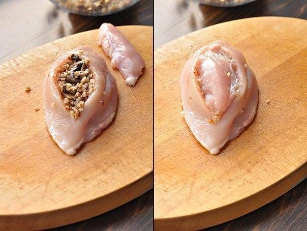 Куриные грудки фаршированные гречкой и шампиньонами, тушенные в сливочно-грибном соусе 2