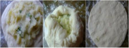 Лепешки на кефире с начинкой 3
