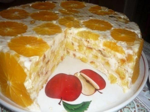 Торт без выпечки с желатином и сметаной