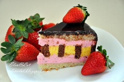 Шоколадно-цитрусовый торт с клубничным муссом 2