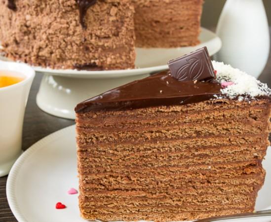 Шоколадно- медовый торт14